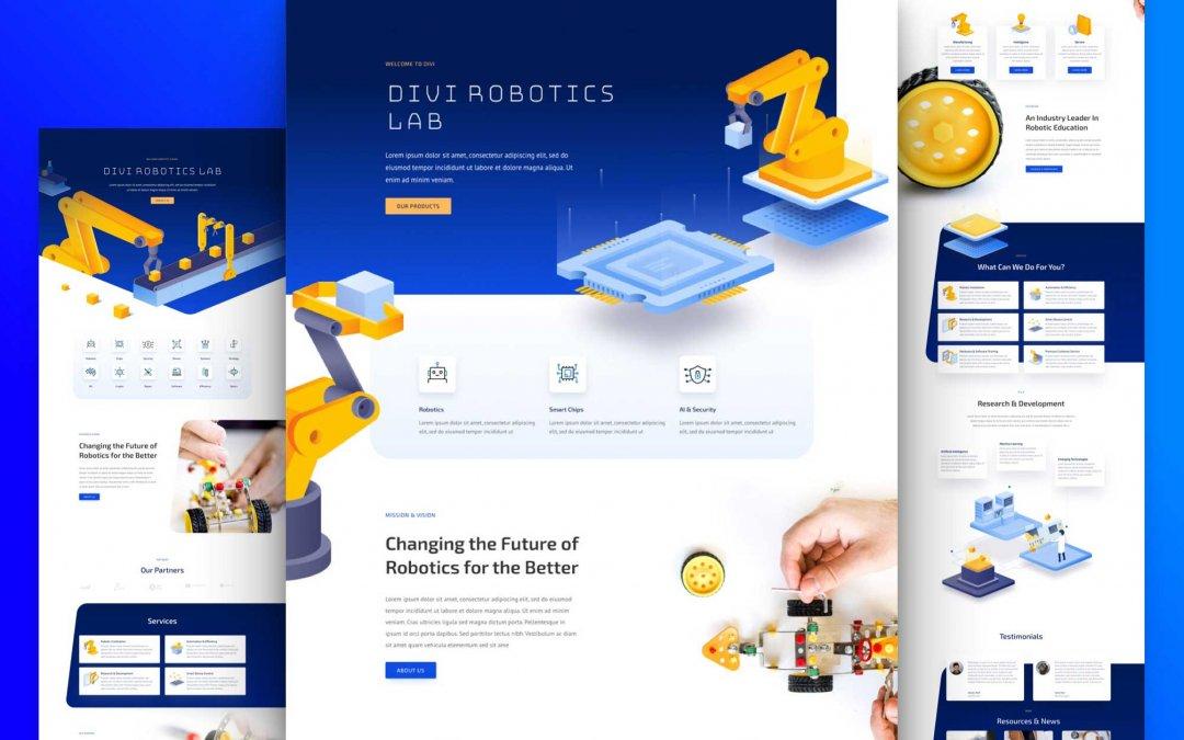 Divi: Předpřipravený vzhled webu pro robotiku (včetně obrázků) zdarma ke stažení