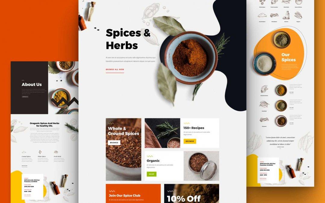 Divi: Předpřipravený vzhled webu pro obchod s kořením (včetně obrázků) zdarma ke stažení
