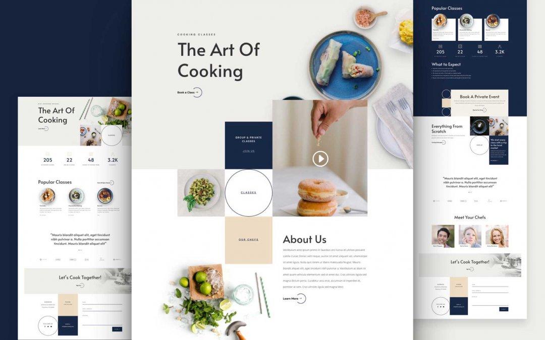 Divi: Předpřipravený vzhled webu pro školu vaření (včetně obrázků) zdarma ke stažení