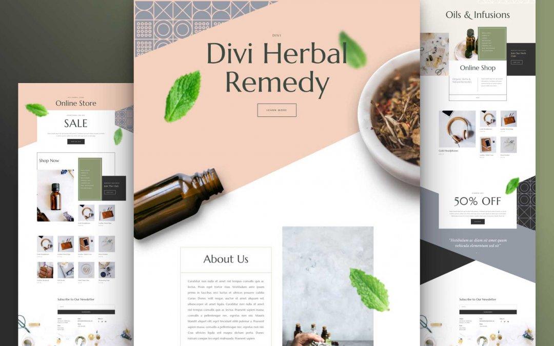 Divi: Předpřipravený vzhled webu pro bylinné léky (včetně obrázků) zdarma ke stažení