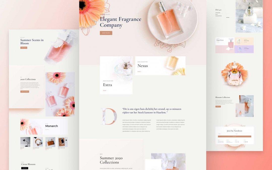 Divi: Předpřipravený vzhled webu pro parfumerii (včetně obrázků) zdarma ke stažení