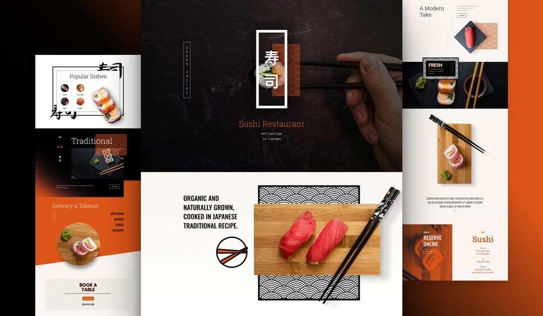 Divi: Předpřipravený vzhled webu pro sushi restauraci (včetně obrázků) zdarma ke stažení