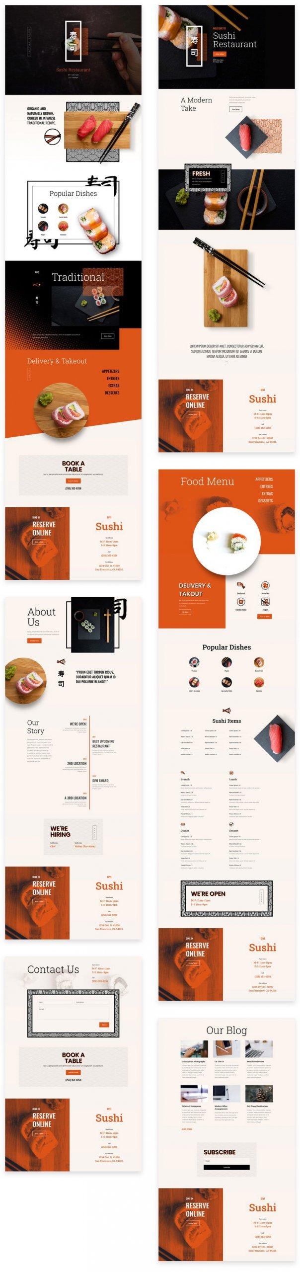 Náhled stránek ze šablony Sushi restaurace