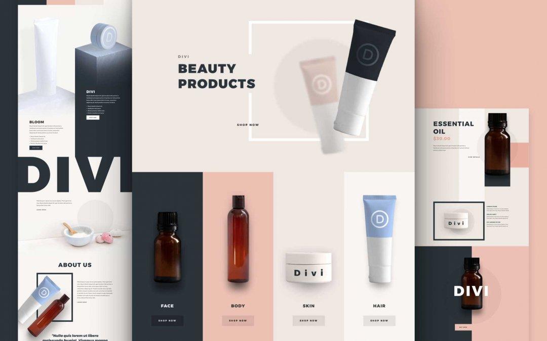 Divi: Předpřipravený vzhled webu pro kosmetické produkty (včetně obrázků) zdarma ke stažení