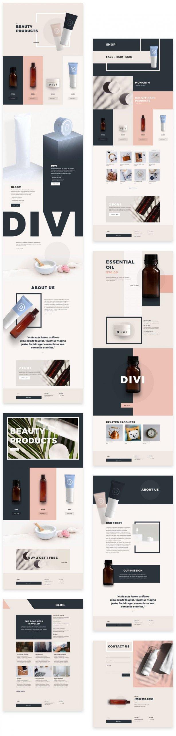 Náhled stránek ze šablony Kosmetické produkty