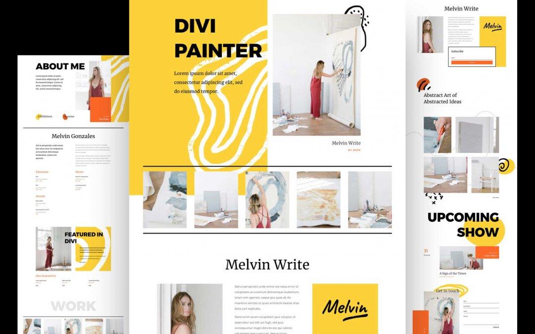 Divi: Předpřipravený vzhled webu pro malíře (včetně obrázků) zdarma ke stažení