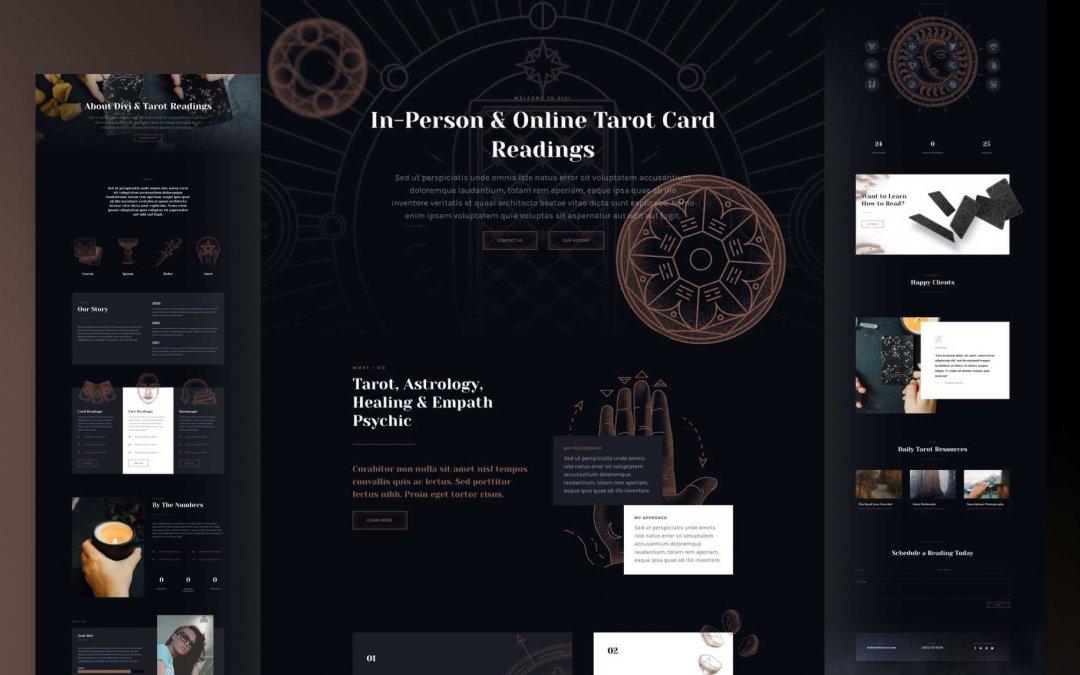 Divi: Předpřipravený vzhled webu pro věštění z tarotových karet (včetně obrázků) zdarma ke stažení