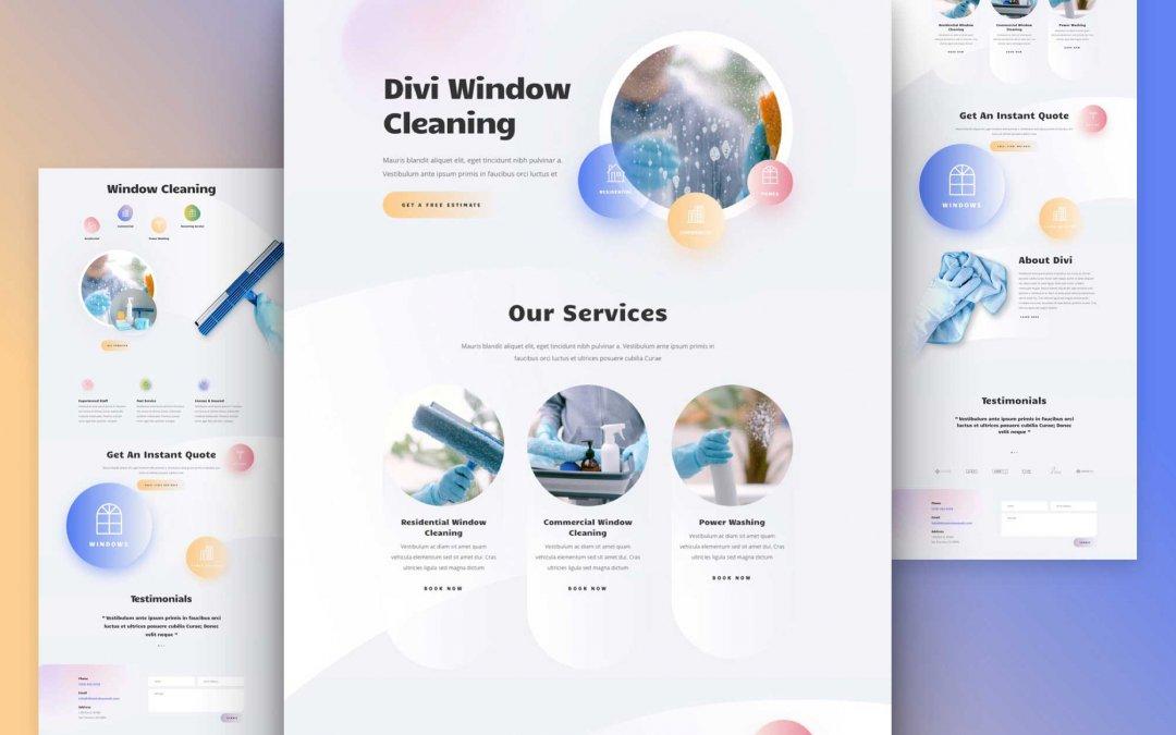 Divi: Předpřipravený vzhled webu pro mytí oken (včetně obrázků) zdarma ke stažení