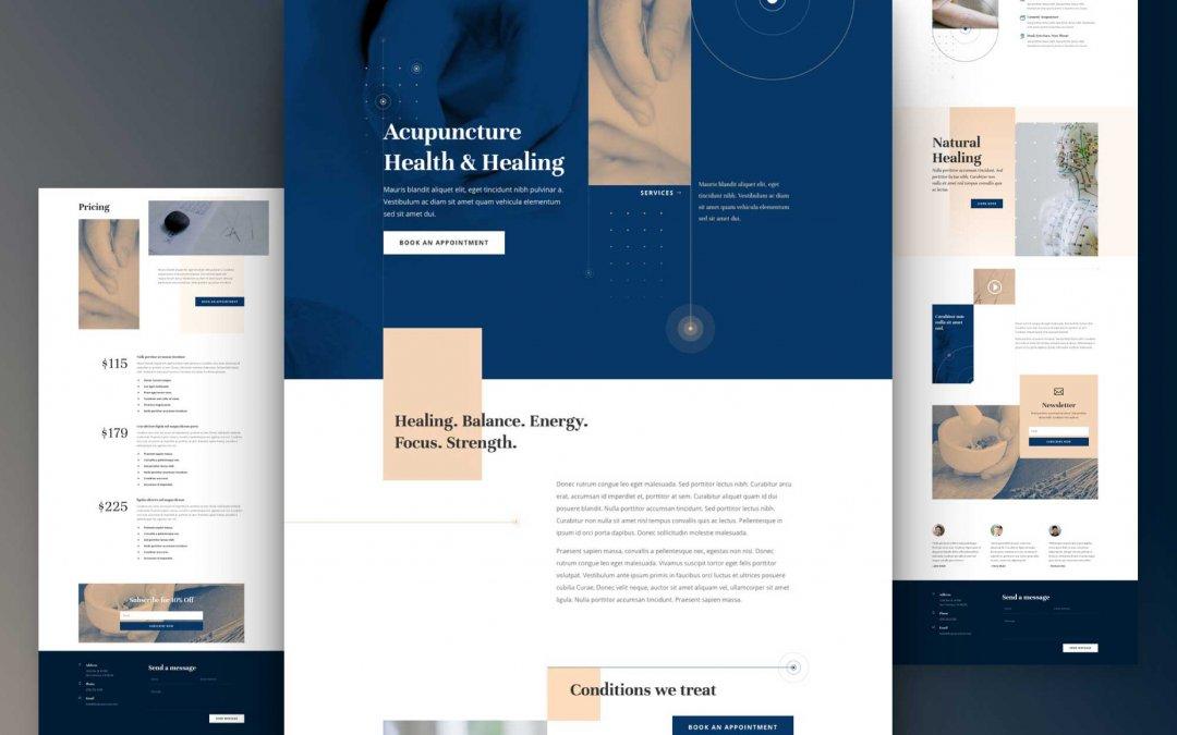Divi: Předpřipravený vzhled webu akupunktury (včetně obrázků) zdarma ke stažení