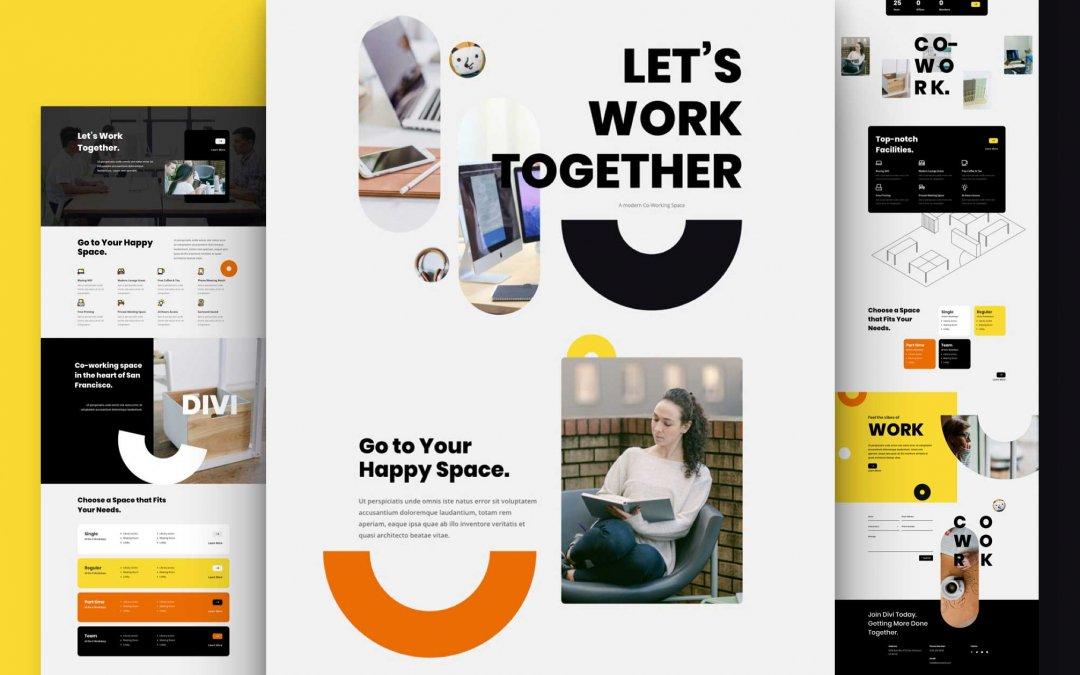 Divi: Předpřipravený vzhled webu pro sdílené pracovní prostory (včetně obrázků) zdarma ke stažení