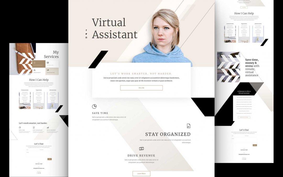 Divi: Předpřipravený vzhled webu virtuálního asistenta (včetně obrázků) zdarma ke stažení