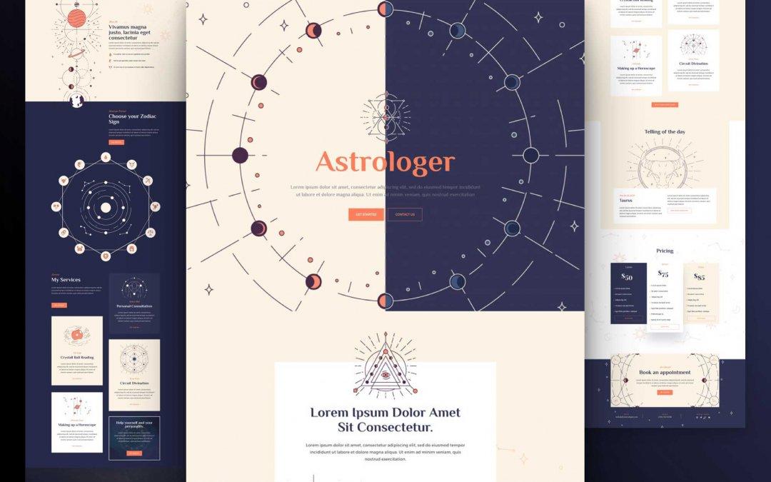 Divi: Předpřipravený vzhled webu astrologa (včetně obrázků) zdarma ke stažení