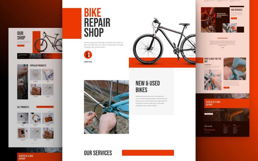 Divi: Předpřipravený vzhled webu cykloservis (včetně obrázků) zdarma ke stažení