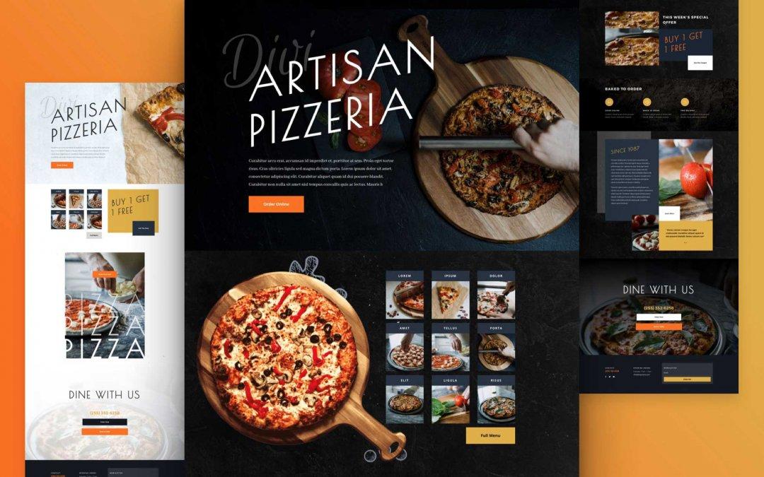 Divi: Předpřipravený vzhled webu pizzerie (včetně obrázků) zdarma ke stažení