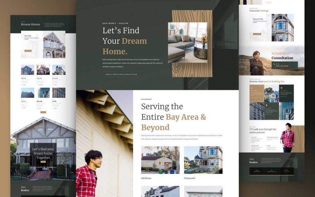Divi: Předpřipravený vzhled webu realitní kanceláře (včetně obrázků) zdarma ke stažení