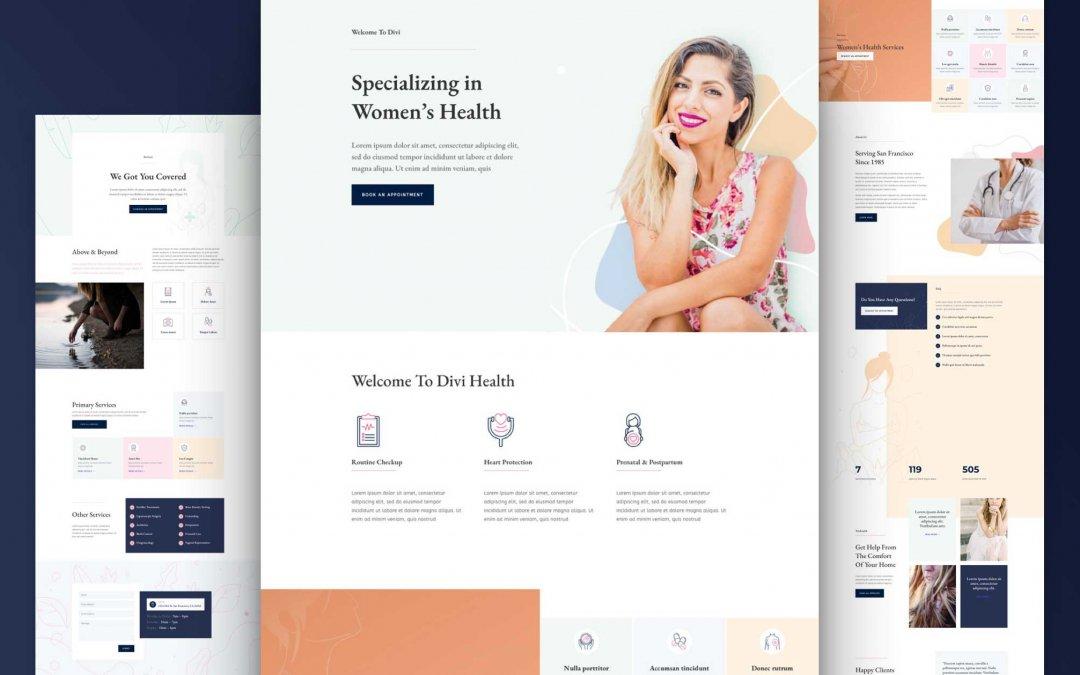 Divi: Předpřipravený vzhled webu centra ženského zdraví (včetně obrázků) zdarma ke stažení