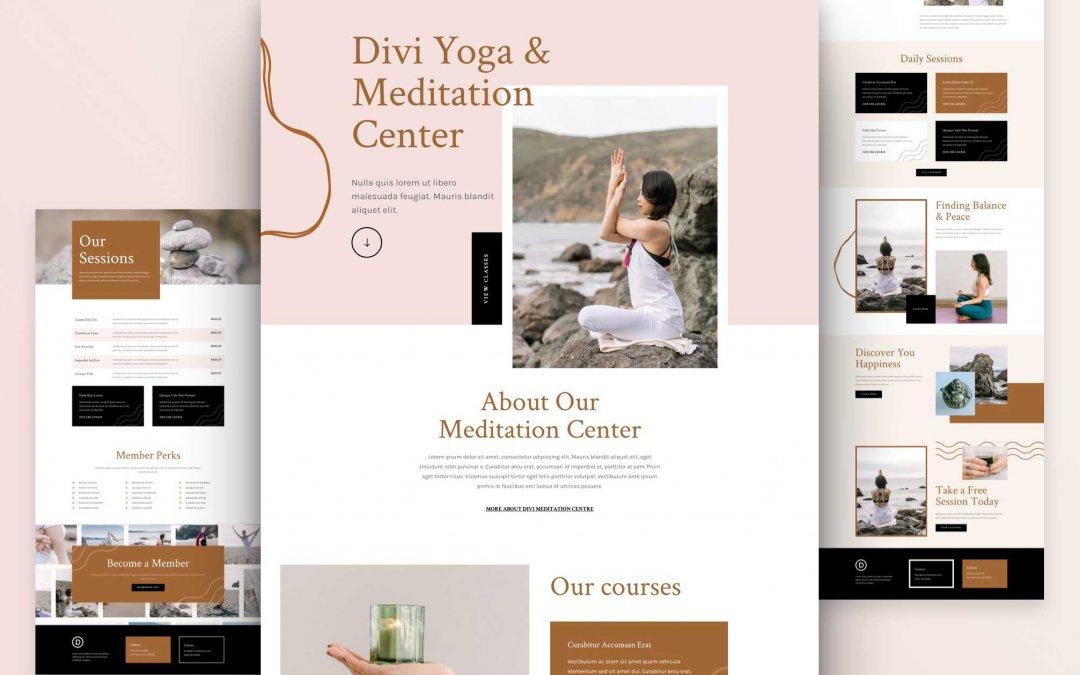 Divi: Předpřipravený vzhled webu meditačního centra (včetně obrázků) zdarma ke stažení