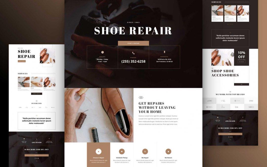 Divi: Předpřipravený vzhled webu opravny obuvi (včetně obrázků) zdarma ke stažení