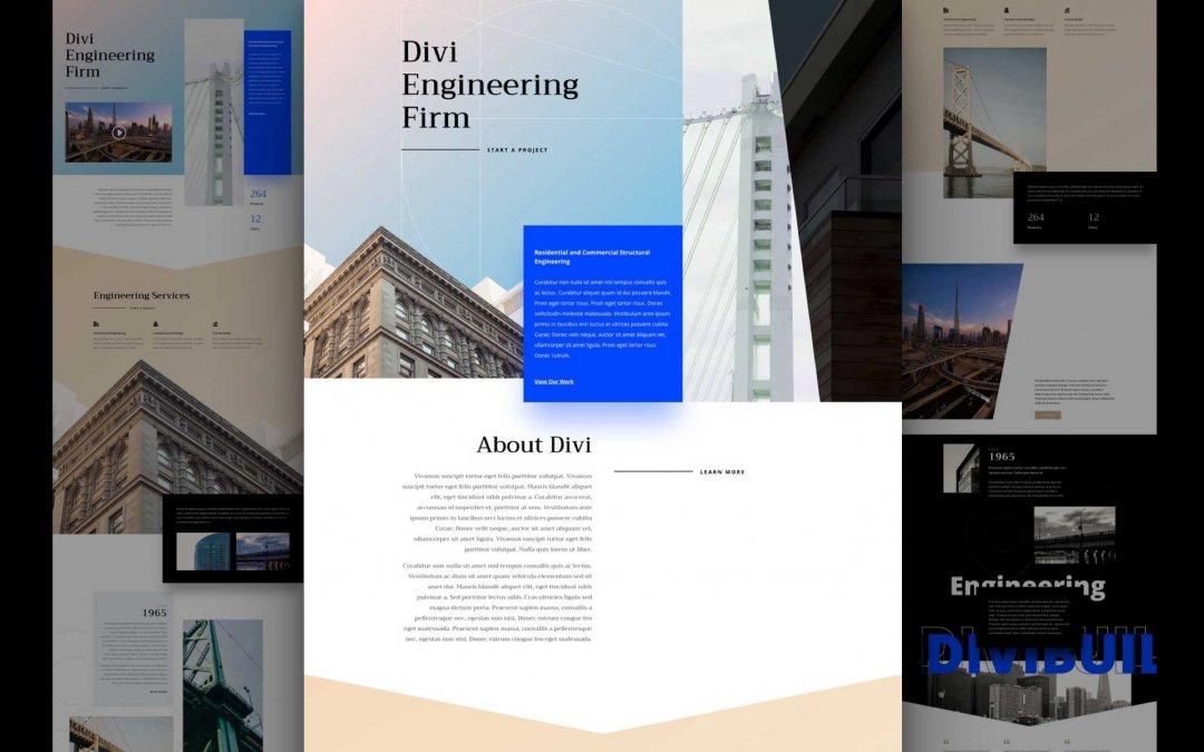 Divi: Předpřipravený vzhled webu strojírenské firmy (včetně obrázků) zdarma ke stažení