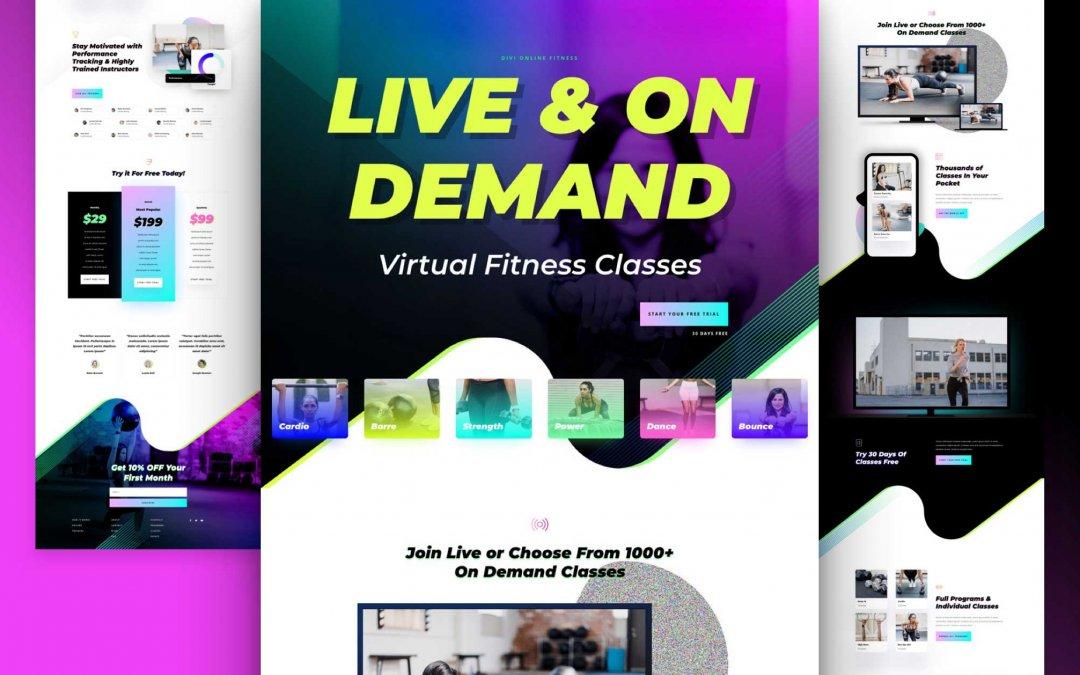 Divi: Předpřipravený vzhled webu virtuálního fitness (včetně obrázků) zdarma ke stažení