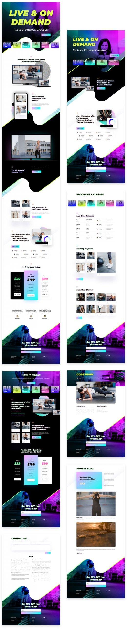 Náhled stránek ze šablony Virtuální fitness