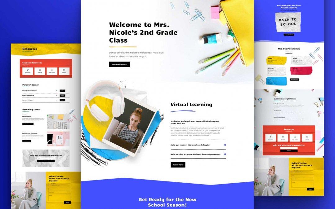 Divi: Předpřipravený vzhled webu třídy (včetně obrázků) zdarma ke stažení