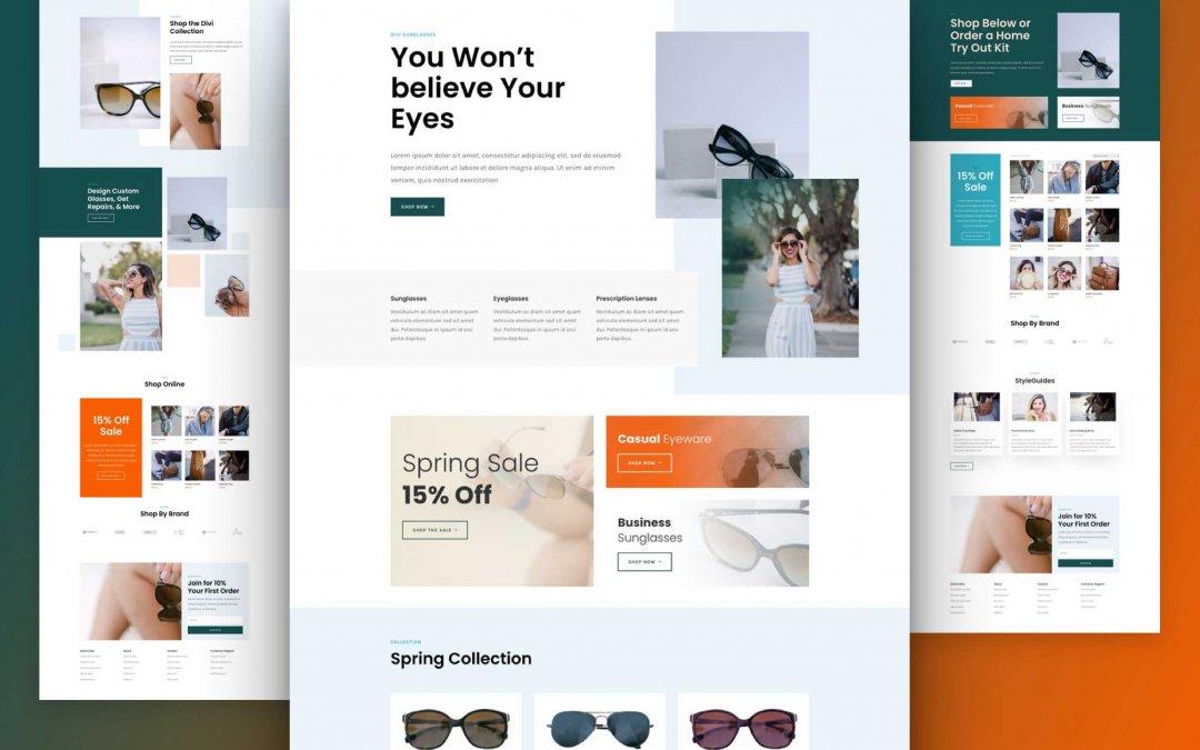 Divi: Předpřipravený vzhled webu obchodu se slunečními brýlemi (včetně obrázků) zdarma ke stažení