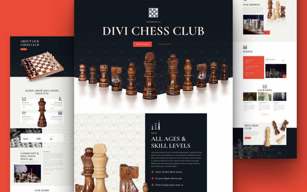 Divi: Předpřipravený vzhled webu šachový klub (včetně obrázků) zdarma ke stažení