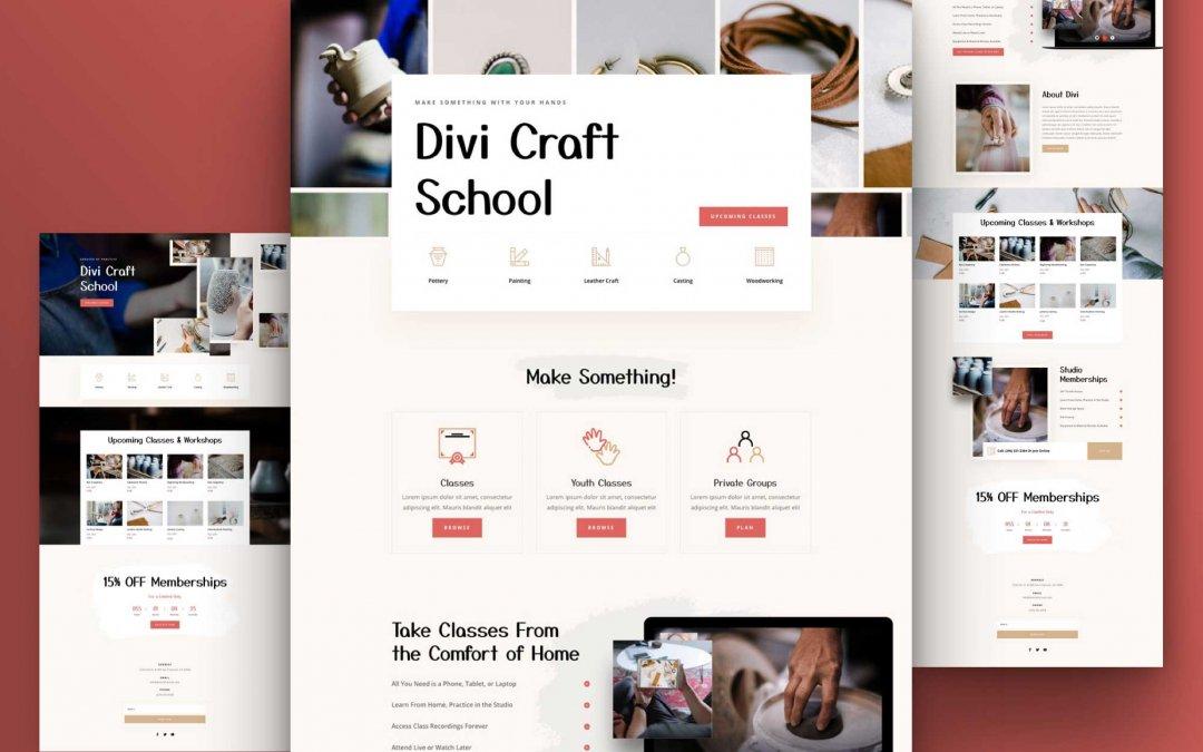 Divi: Předpřipravený vzhled webu školy řemesel (včetně obrázků) zdarma ke stažení