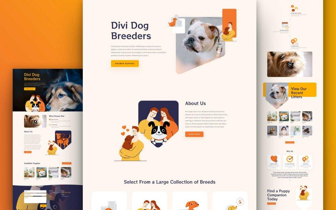 Divi: Předpřipravený vzhled webu chovatel psů (včetně obrázků) zdarma ke stažení