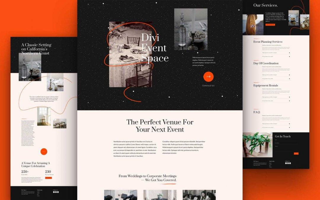 Divi: Předpřipravený vzhled webu prostory pro akce (včetně obrázků) zdarma ke stažení