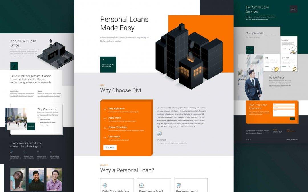 Divi: Předpřipravený vzhled webu osobní půjčka (včetně obrázků) zdarma ke stažení
