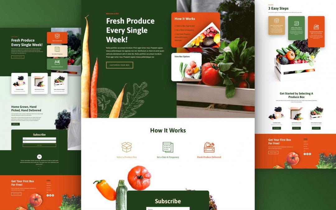 Divi: Předpřipravený vzhled webu farmářský box (včetně obrázků) zdarma ke stažení