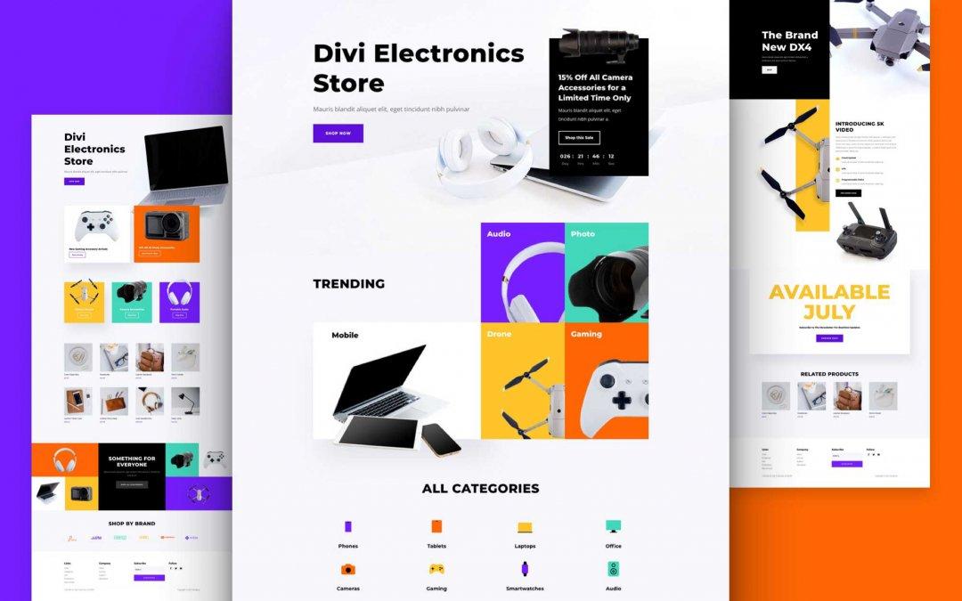 Divi: Předpřipravený vzhled webu obchod s elektronikou (včetně obrázků) zdarma ke stažení