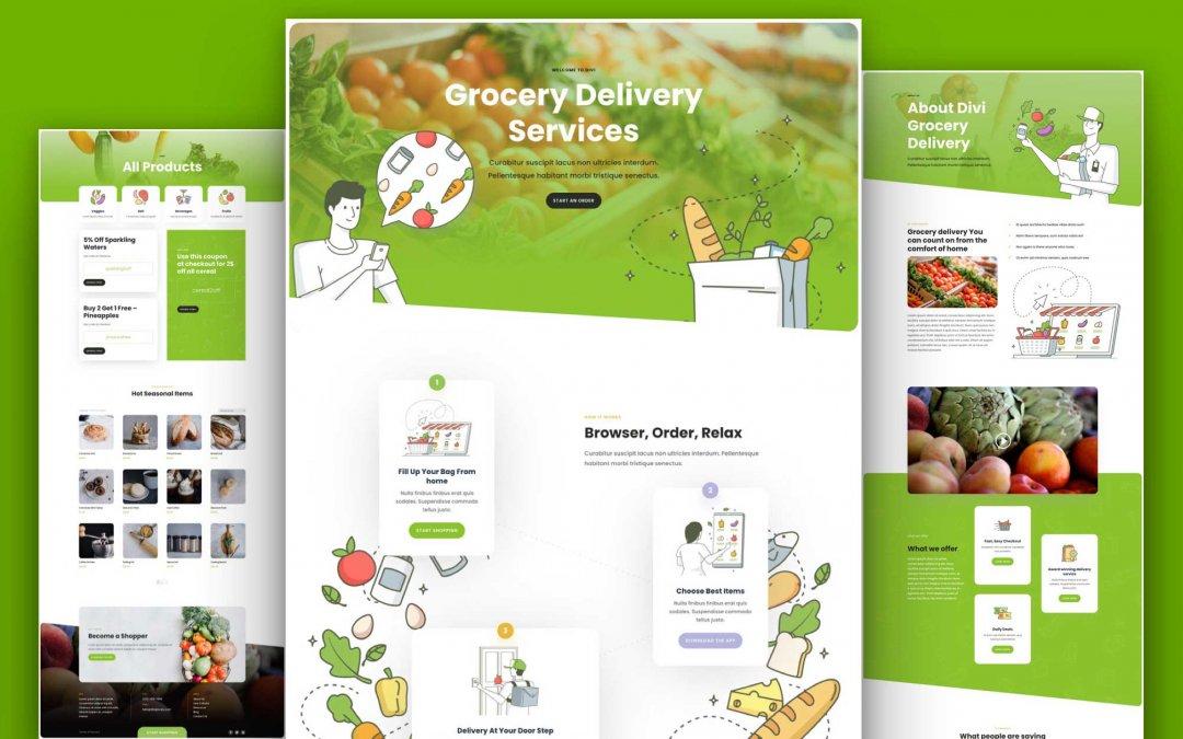Divi: Předpřipravený vzhled webu rozvoz potravin (včetně obrázků) zdarma ke stažení