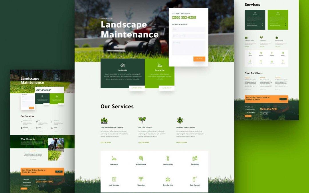 Divi: Předpřipravený vzhled webu zahradní práce (včetně obrázků) zdarma ke stažení