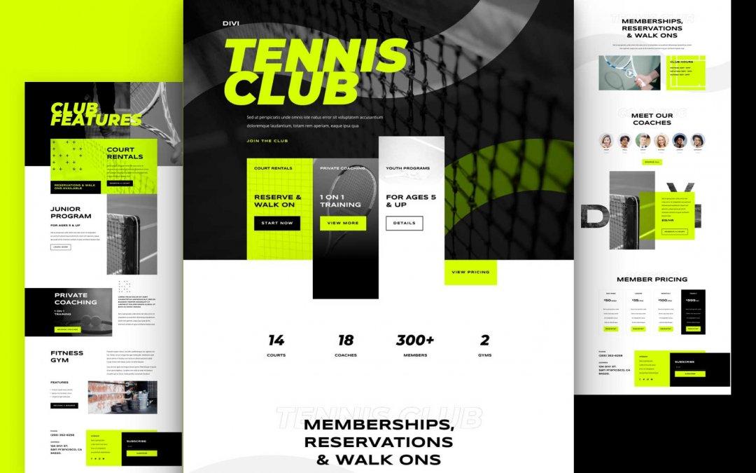 Divi: Předpřipravený vzhled webu tenisový klub (včetně obrázků) zdarma ke stažení