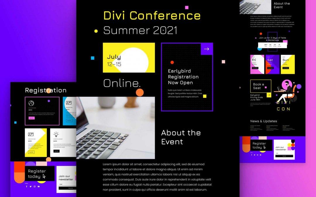Divi: Předpřipravený vzhled webu virtuální konference (včetně obrázků) zdarma ke stažení