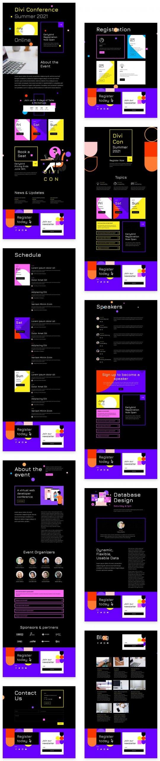 Náhled stránek ze šablony Virtuální konference