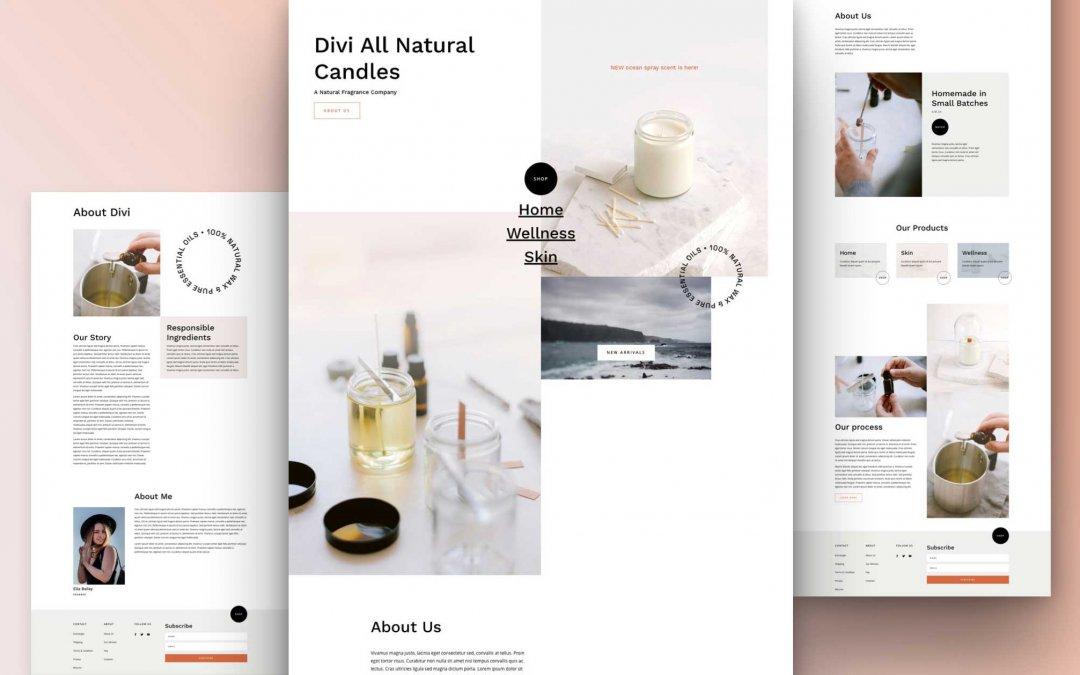Divi: Předpřipravený vzhled webu s výrobou svíček (včetně obrázků) zdarma ke stažení