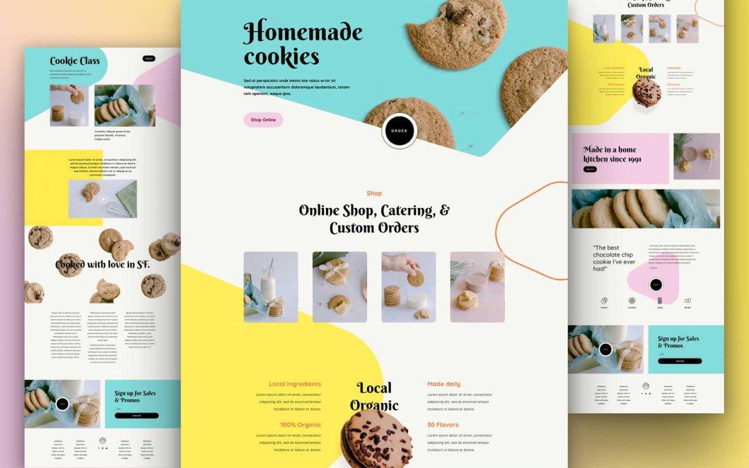 Divi: Předpřipravený vzhled webu domácí sušenky (včetně obrázků) zdarma ke stažení