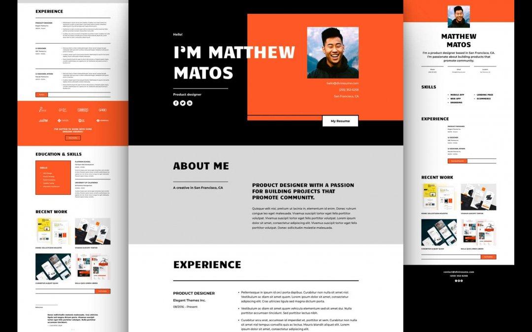 Divi: Předpřipravený vzhled webu kreativní životopis (včetně obrázků) zdarma ke stažení