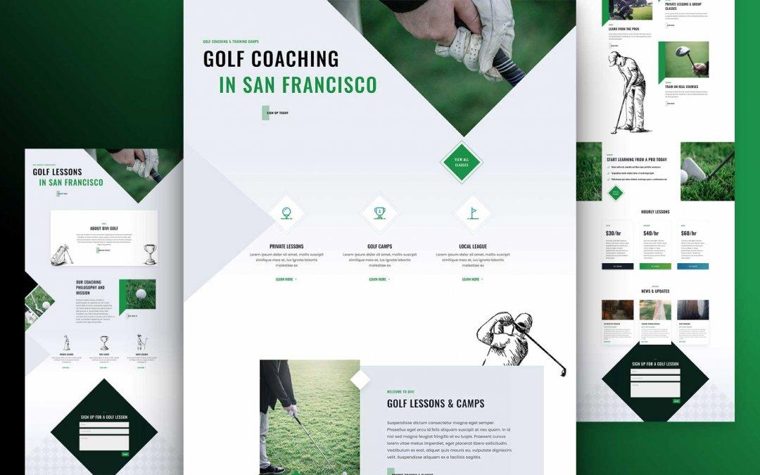 Divi: Předpřipravený vzhled webu lekce golfu (včetně obrázků) zdarma ke stažení