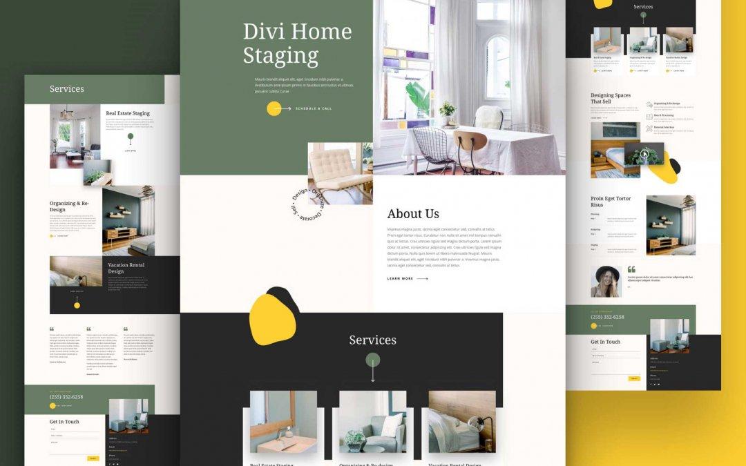 Divi: Předpřipravený vzhled webu home staging (včetně obrázků) zdarma ke stažení