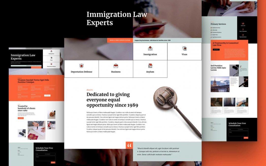 Divi: Předpřipravený vzhled webu imigrační právník (včetně obrázků) zdarma ke stažení