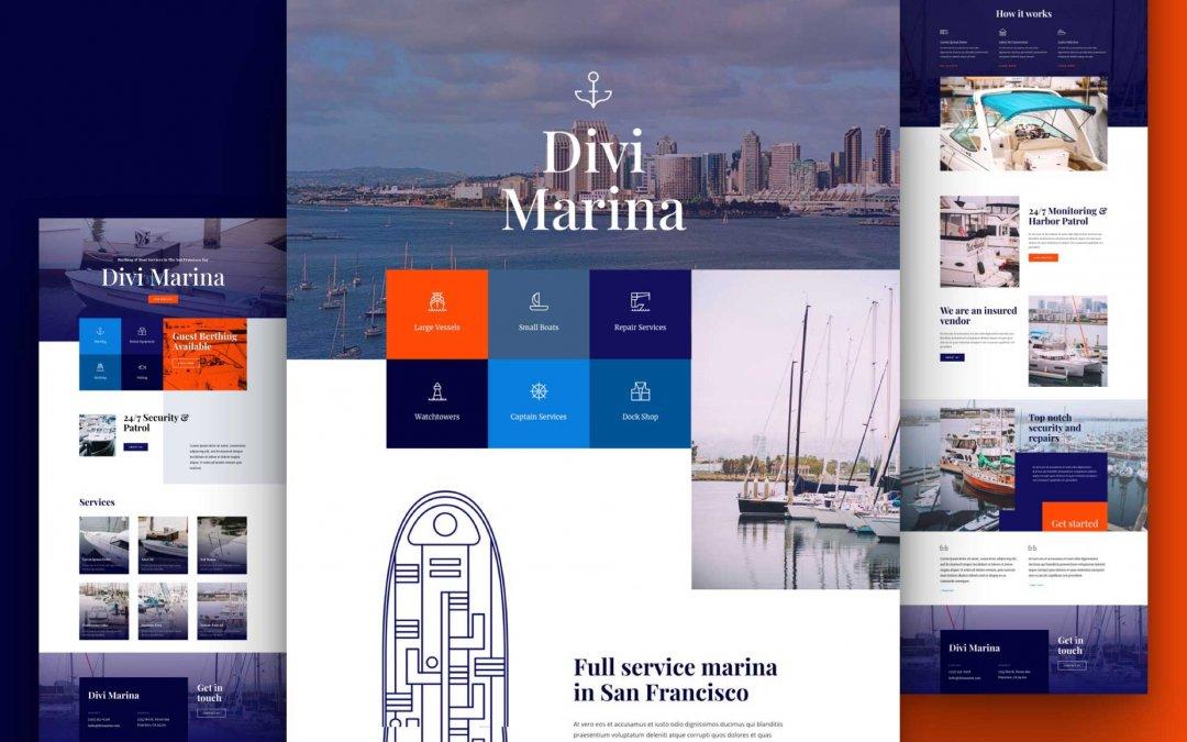 Divi: Předpřipravený vzhled webu přístav (včetně obrázků) zdarma ke stažení