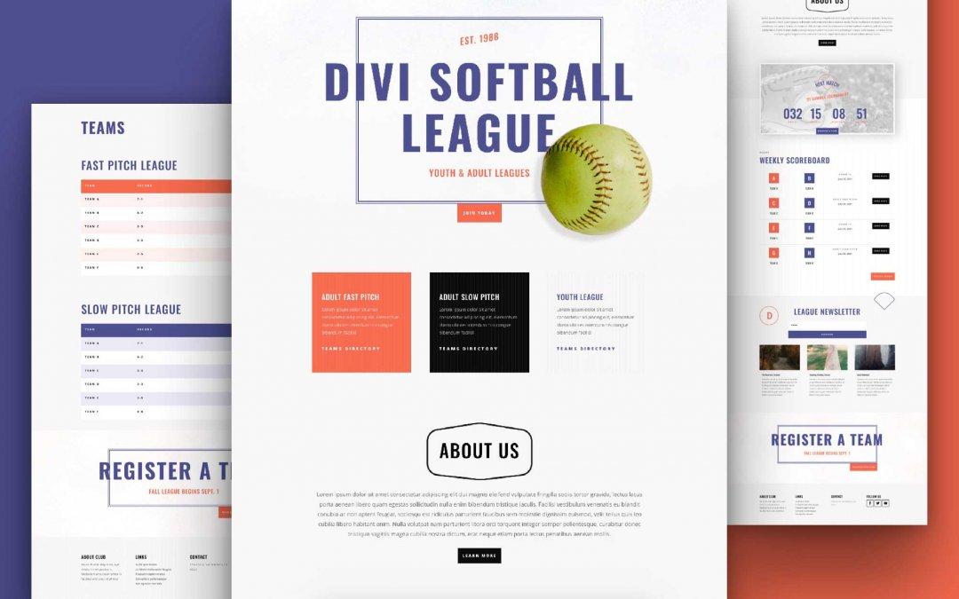 Divi: Předpřipravený vzhled webu softballová liga (včetně obrázků) zdarma ke stažení