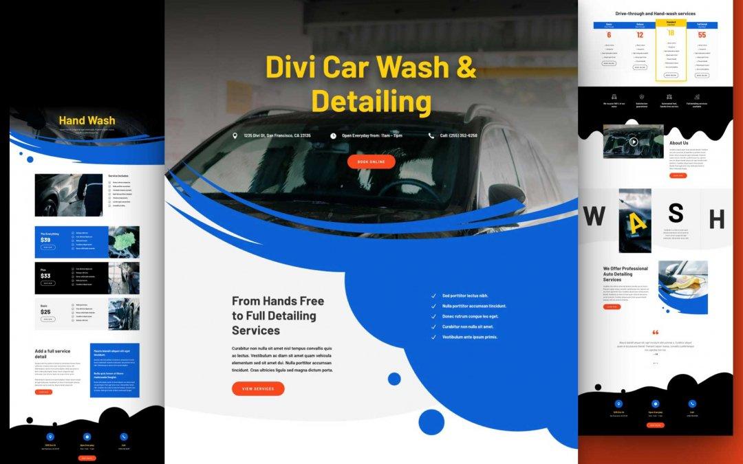 Divi: Předpřipravený vzhled webu automyčka (včetně obrázků) zdarma ke stažení